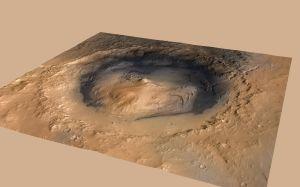 Der Gale Krater auf dem Mars, basierend auf einer 3D Aufnahme mit der HRSC, kombiniert mit Daten aus weiteren Quellen.
